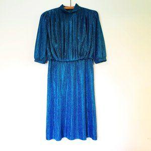 Vintage 80s Blue Black Polka Dot Pleated Midi Satin High Neck Dress